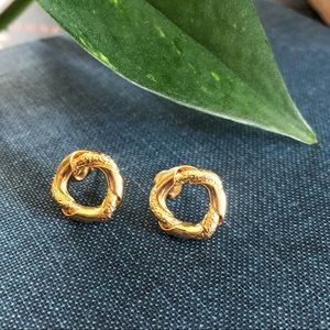 Gold Front Facing Minimalist Hoop Earring Stud
